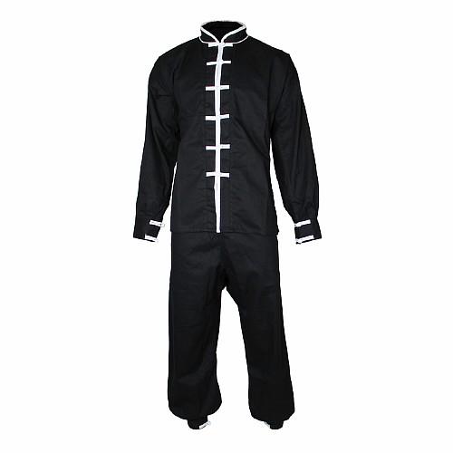 tai chi anzug aus baumwolle mit wei en details jacke. Black Bedroom Furniture Sets. Home Design Ideas