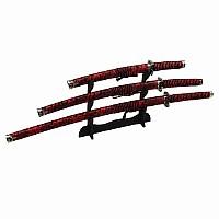Samuraischwert Set - Red Dragon - Katana, Wakizashi, Tanto + Schwertständer