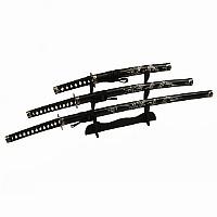 Samuraischwert Set mit eingeschnitztem Drache - Katana, Wakizashi, Tanto + Schwertständer