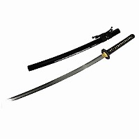 Schwarzes Katana Samuraischwert - Damaszener Stahl, Lehmhärtung + echte Hamon