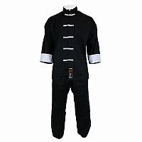 Tai Chi Anzug in klassischem Design, 100% Baumwolle, schwarz, verschiedene Größen