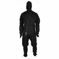 Schwarzer Ninjaanzug aus 100% Baumwolle, mit Zubehör, verschiedene Größen