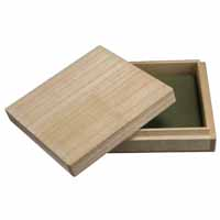 Tsubabox aus Echtholz mit grüner Polsterung