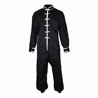 Tai Chi Anzug, 100% Baumwolle, schwarz/weiß