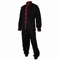 Tai Chi Anzug, 100% Baumwolle, schwarz/rot