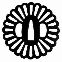 Tsuba für Samuraischwert im Blüten-Design aus Eisen