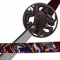 Drachen Katana rot, Samuraischwert mit Drachenmotiven