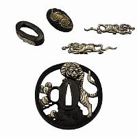 Schwertteile 5-teilig Tigerdesign mit Tsuba, Fuchi, Kashira und Menuki
